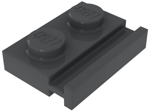 Lego 3176-plate 2x3 with rounded end and hole x1