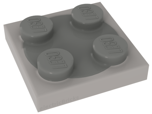 LEGO White Turntable 2 x 2 Plate, Complete Assembly with Light Gray Top