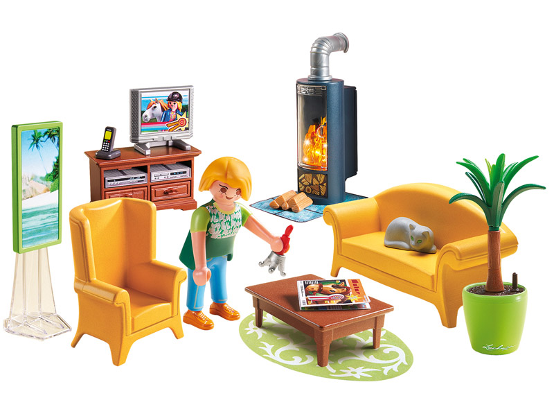 PLAYMOBIL-5308-Dollhouse-Living Room with Fireplace