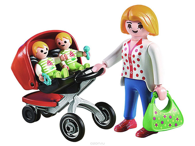 PLAYMOBIL-5573-City Life-Mother with Twin Stroller