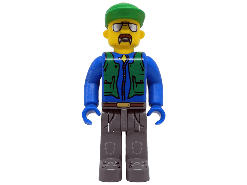 LEGO-4j003-4 Juniors-Construction Worker with Blue Shirt, Green Vest and Cap, Sunglasses and Moustache