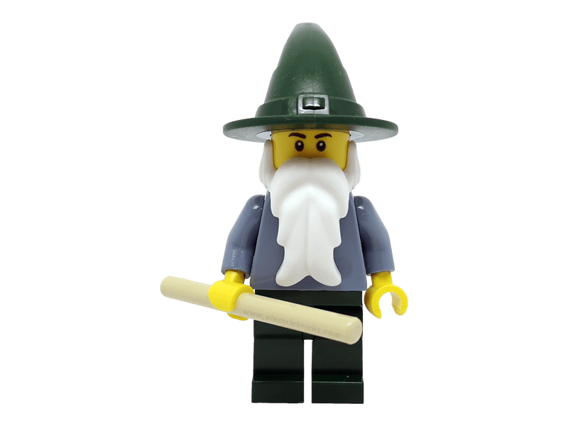 LEGO-cas483-Castle-Minifigure cas483 Wizard - Sand Blue with Dark Green Legs and Hat
