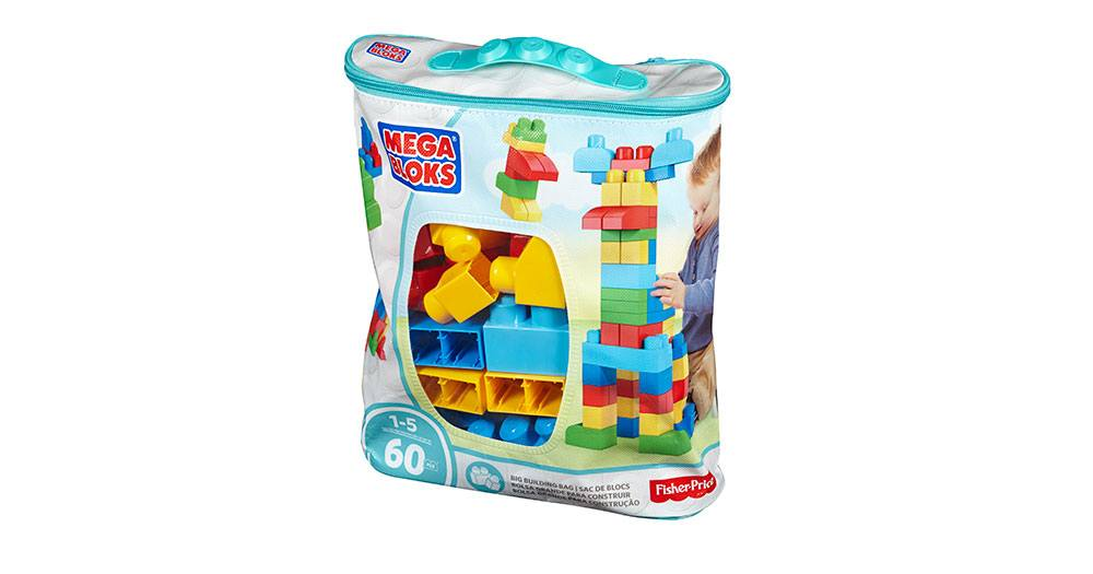 Mega Bloks-DCH55-Basics-First Builders Big Building Bag (60-Piece)