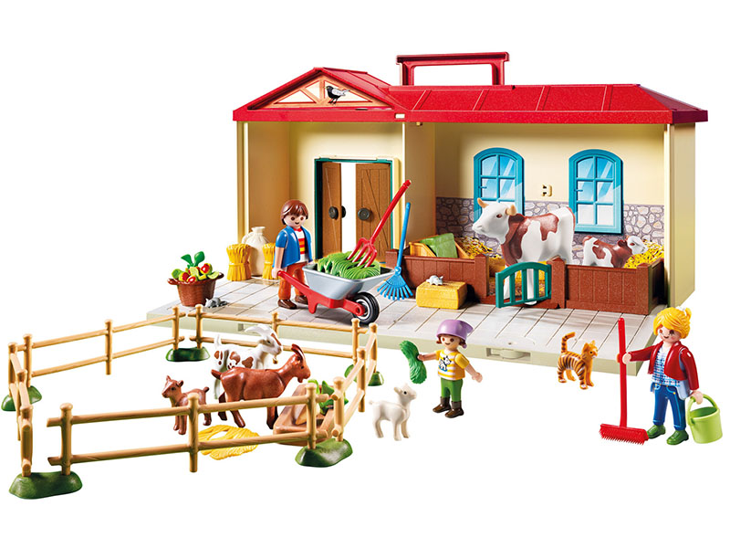 PLAYMOBIL-4897-Country-Country Take Along Farm with Carry Handle and Fold-Out Stables - Multicolor