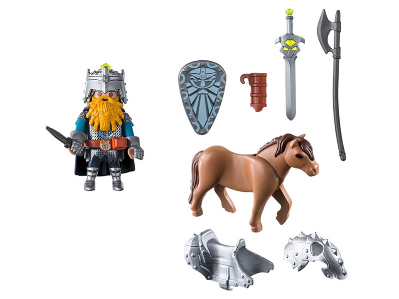 PLAYMOBIL-9345-KNIGHTS-Dwarf Fighter with Pony