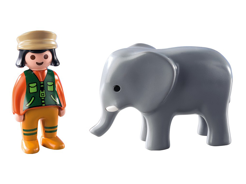 PLAYMOBIL-9381-1.2.3-Zookeeper with Elephant