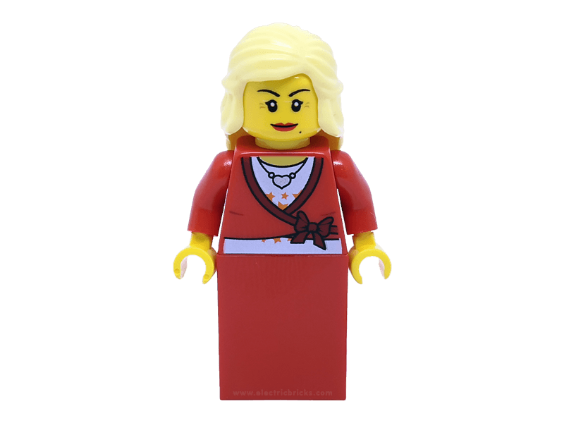 LEGO-twn134--Minifigure twn134 Sweater Cropped with Bow, Heart Necklace, Red Skirt, Bright Light Yellow Female Hair Mid-Length