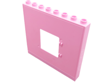 Bright Pink Duplo Building Wall 1 x 8 x 6 with Window Opening