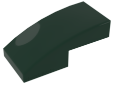 Dark Green Slope, Curved 2 x 1 No Studs