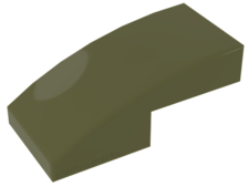 Olive Green Slope, Curved 2 x 1 No Studs
