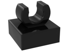 Black Tile, Modified 1 x 1 with Clip - Rounded Edges