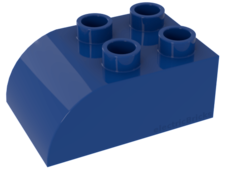 Blue Duplo, Brick 2 x 3 with Curved Top
