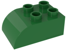 Bright Green Duplo, Brick 2 x 3 with Curved Top