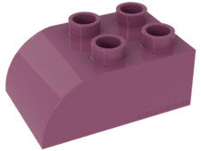 Dark Pink Duplo, Brick 2 x 3 with Curved Top