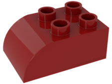 Red Duplo, Brick 2 x 3 with Curved Top