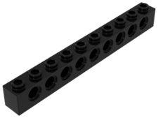 Black Technic, Brick 1 x 10 with Holes