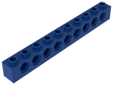 Blue Technic, Brick 1 x 10 with Holes