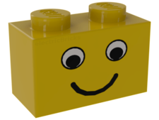 Yellow Brick 1 x 2 with Eyes and Smile Pattern