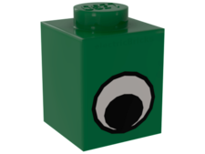 Green Brick, Decorated 1 x 1 with Eye Simple Black and White Pat