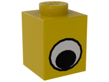 Yellow Brick, Decorated 1 x 1 with Eye Simple Black and White Pa