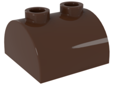 Brown Brick, Modified 2 x 2 Curved Top with Two Top Studs