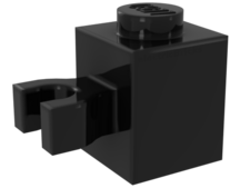 Black Brick, Modified 1 x 1 with Clip Vertical