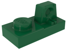 Green Hinge, Plate 1 x 2 Locking with 1 Finger On Top