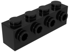 Black Brick, Modified 1 x 4 with 4 Studs on One Side