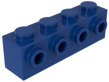 Azul. Ladrillo modificado 1 x 4 con 4 studs laterales