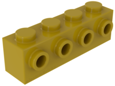 Amarillo. Ladrillo modificado 1 x 4 con 4 studs laterales