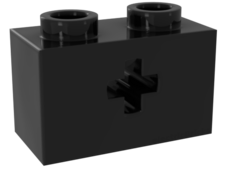 Black Technic, Brick 1 x 2 with Axle hole