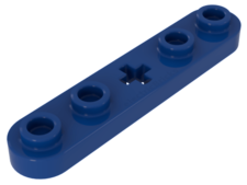 Blue Technic, Plate 1 x 5 with Smooth Ends, 4 Studs and Center A