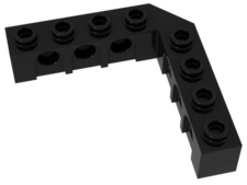 Black Technic, Brick 5 x 5 Right Angle (1 x 4 - 1 x 4)