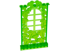 Trans-Bright Green Belville Wall, Ivy Wall with Window 1 x 8 x 12