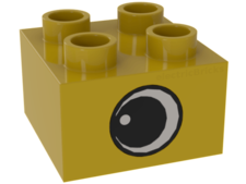 Yellow Duplo, Brick 2 x 2 with Eye with White Spot Pattern, on T