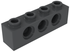 Dark Bluish Gray Technic, Brick 1 x 4 with Holes