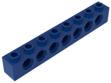 Blue Technic, Brick 1 x 8 with Holes