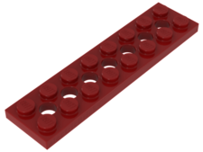Red Technic, Plate 2 x 8 with 7 Holes