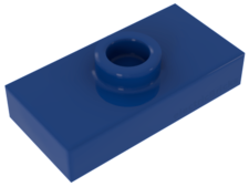 Blue Plate, Modified 1 x 2 with 1 Stud (Jumper)