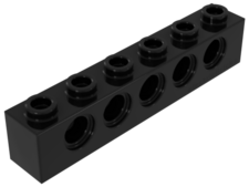 Black Technic, Brick 1 x 6 with Holes