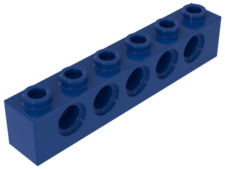 Blue Technic, Brick 1 x 6 with Holes