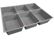 Dark Gray Storage/Sorting Tray - Six Compartment