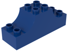 Blue Duplo, Brick 2 x 6 x 2 with Curved Ends