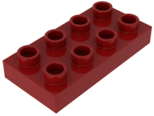 Red Duplo, Plate 2 x 4