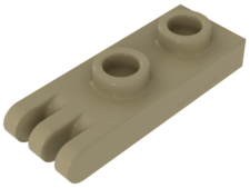 Tan Hinge, Plate 1 x 2 with 3 Fingers
