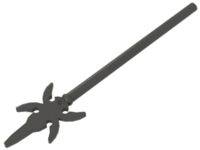 Dark Gray Minifig, Weapon Pike with 4 Side Blades