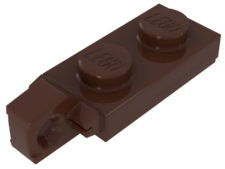 Reddish Brown Hinge Plate 1 x 2 Locking with 1 Finger On End
