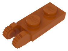 Orange Hinge, Plate 1 x 2 Locking with 2 Fingers On End