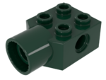 Dark Green Technic, Brick Modified 2 x 2 with Pin Hole, Rotation Joint Socket