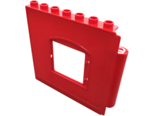 Red Duplo Building Wall 1 x 8 x 6 with Window Opening, Hinge on Right